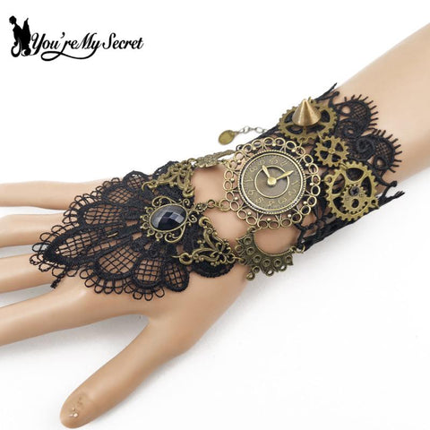 [You're My Secret] Vintage Women Bracelets Lace Steampunk Metal Accessories Cosplay Gothic Lolita Girls Jewelry