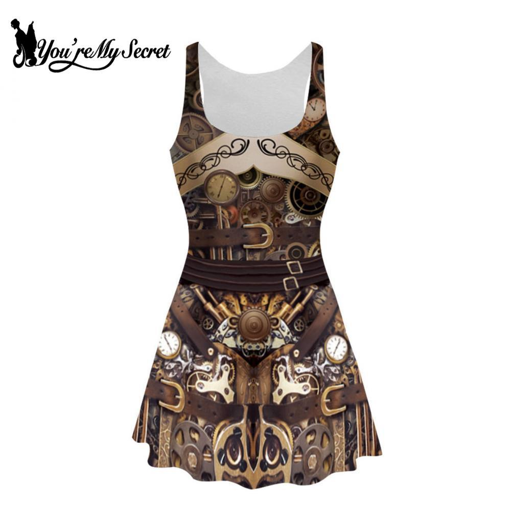 [You're My Secret] Sexy Sleeveless Women Dresses Steampunk Style 3D Printed Dress Summer Knee-Length Pleated Mechanical Gear