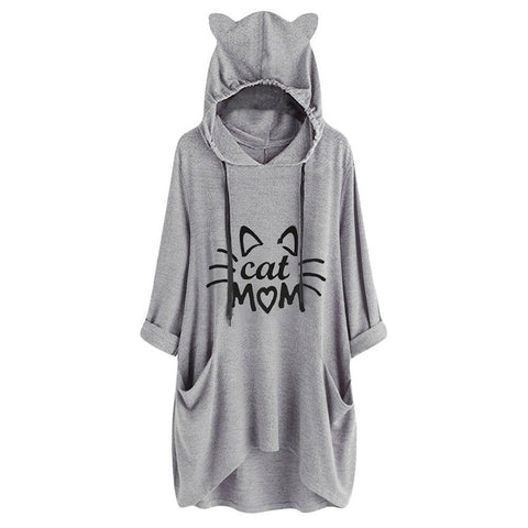 Cat Ears Oversize Hoodies Female Autumn Cartoon Print Lace Up Casual Loose Hooded Pullover Hip Pop Street Wear Sweatshirt