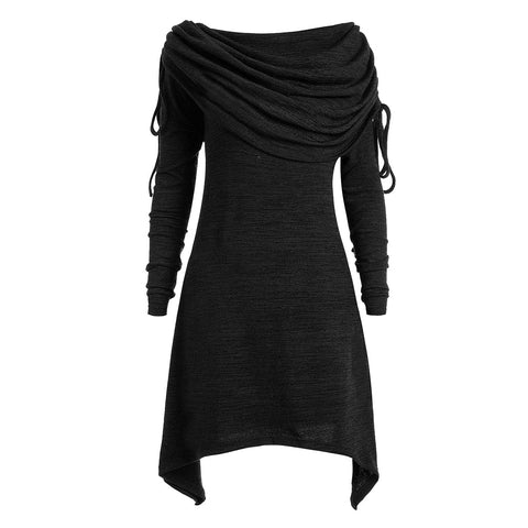 Knitted Dress  Solid Black Scarf Collar Spring Street Hipster Lace Up Slim Thin Female Gray Casual Mini Dresses
