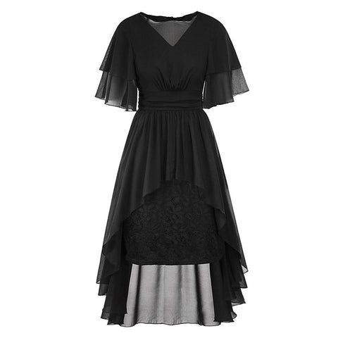Elegant Sexy Club  Party Gothic Women Long Dresses Casual OL Lady Green Chiffon Floral Pleated Lace Female Goth Dress