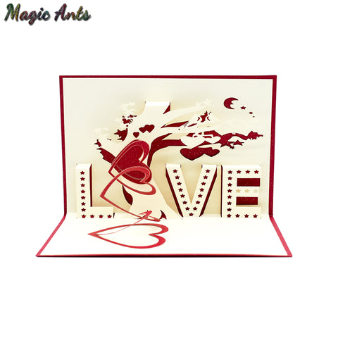 3D LOVE Pop UP Cards with envelope sticker laser cut invitation origami Greeting Cards postcards Valentines Day gifts