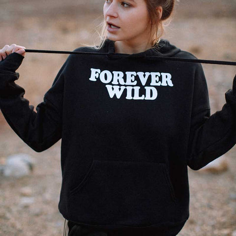 Forever Wild Letters Women Long Sleeve Hoodie Causal Loose Womens Shirts Gothic Woman Clothes Camisas Mujer