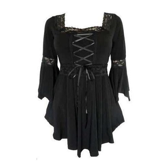 Sexy Lace Black Gothic T Shirt Women Fashion Autumn 2018 Hot Sale Top High Street Elegant Pleated Slim