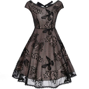 Rosetic Black Gothic Dress Vintage Lace Women Butterfly Chic Elegant Retro Floral Embroidery Gothic Dresses