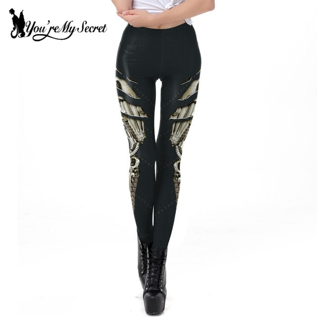 [You're My Secret] Punk Style Dark Grey Steampunk Gear of War Printed Leggins Women Workout Legging Fitness Ankle Pant