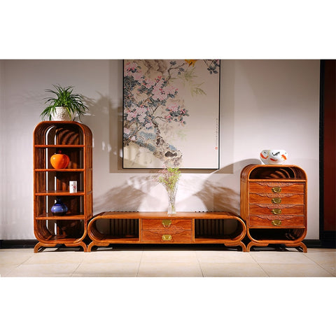 3pcs/set Living Room TV Stand Unit Cabinet Console Furniture Hedgehog rosewood Mahogany furniture Antique TV Stand