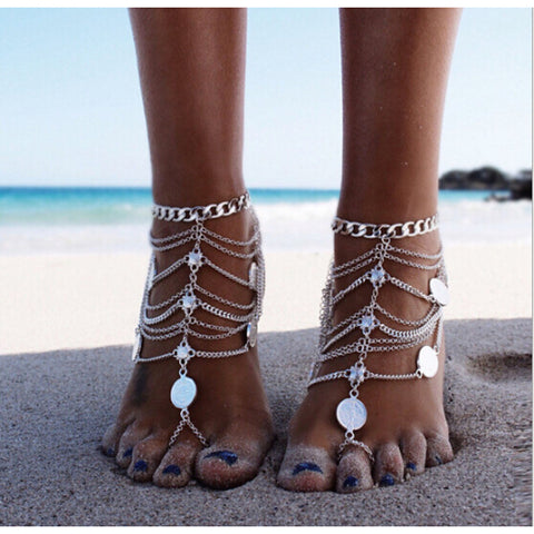 Women's Anklet Barefoot Sandals feet jewelry Layered Stacking Stackable Ladies Personalized Unique Design European Bikini Silver Anklet Jewelry Silver For Christmas Gifts Daily Casual Sports Beach
