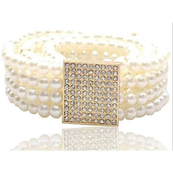 Women's Imitation Pearl Wide Belt - Solid Colored / Cute