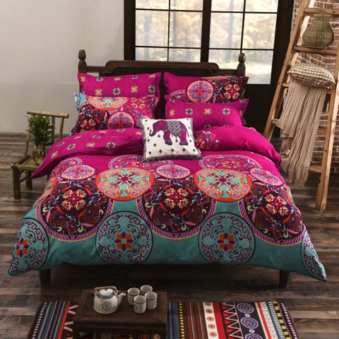 Duvet Cover Sets Floral Cotton Reactive Print 4 Piece / twin size include: 1 bed sheet  1 duvet cover and 1pillowcase, the other sizes includes : 1 bed sheet  1 duvet cover and 2 pillowcases