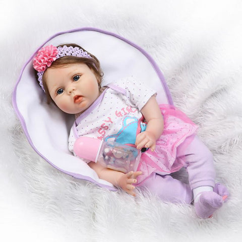 NPKCOLLECTION NPK DOLL Reborn Doll Baby 22 inch Silicone - Newborn lifelike Cute Child Safe New Design Non Toxic Kid's Unisex / Girls' Toy Gift