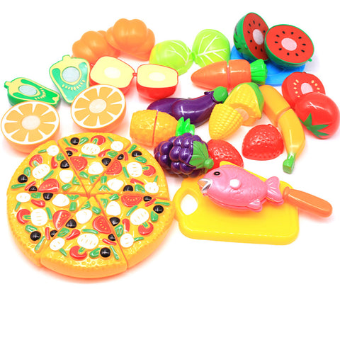 Toy Kitchen Set Pretend Play Play Kitchen Food Fruit Parent-Child Interaction Plastic Shell Kid's Preschool All Boys' Girls' Toy Gift 24 pcs