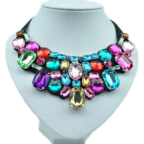Women's Synthetic Diamond Statement Necklace Bib Emerald Cut Rainbow Ladies Fashion Colorful Color Resin Rhinestone Imitation Diamond Necklace Jewelry For Wedding Party Daily