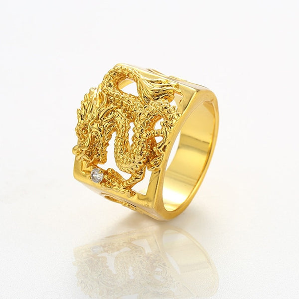 Men's Statement Ring Gold Plated Dragon Rock Ring Jewelry Gold For Street Club 9 / 10 / 11 / 12