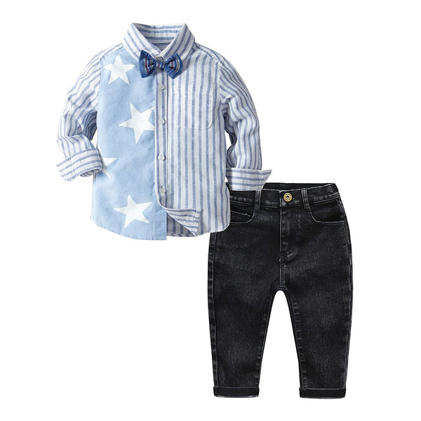 Kids Boys' Basic Striped Print Long Sleeve Cotton Clothing Set Blue
