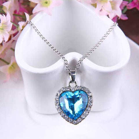 Women's Synthetic Sapphire Pendant Necklace Solitaire Box Chain Heart Love Ladies Fashion Austria Crystal Alloy Blue Necklace Jewelry For Wedding Party Special Occasion Anniversary Gift Daily