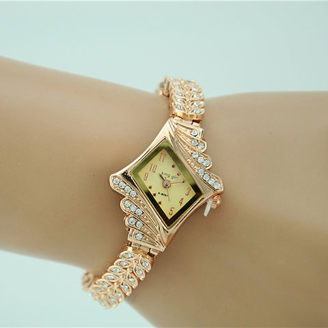 Women's Bracelet Watch Diamond Watch Gold Watch Quartz Gold Imitation Diamond Analog Ladies Charm Fashion Elegant Dress Watch - Gold One Year Battery Life / Tianqiu 377