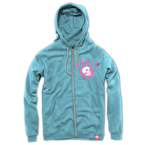 All over Baby Blue zip front hoodie.