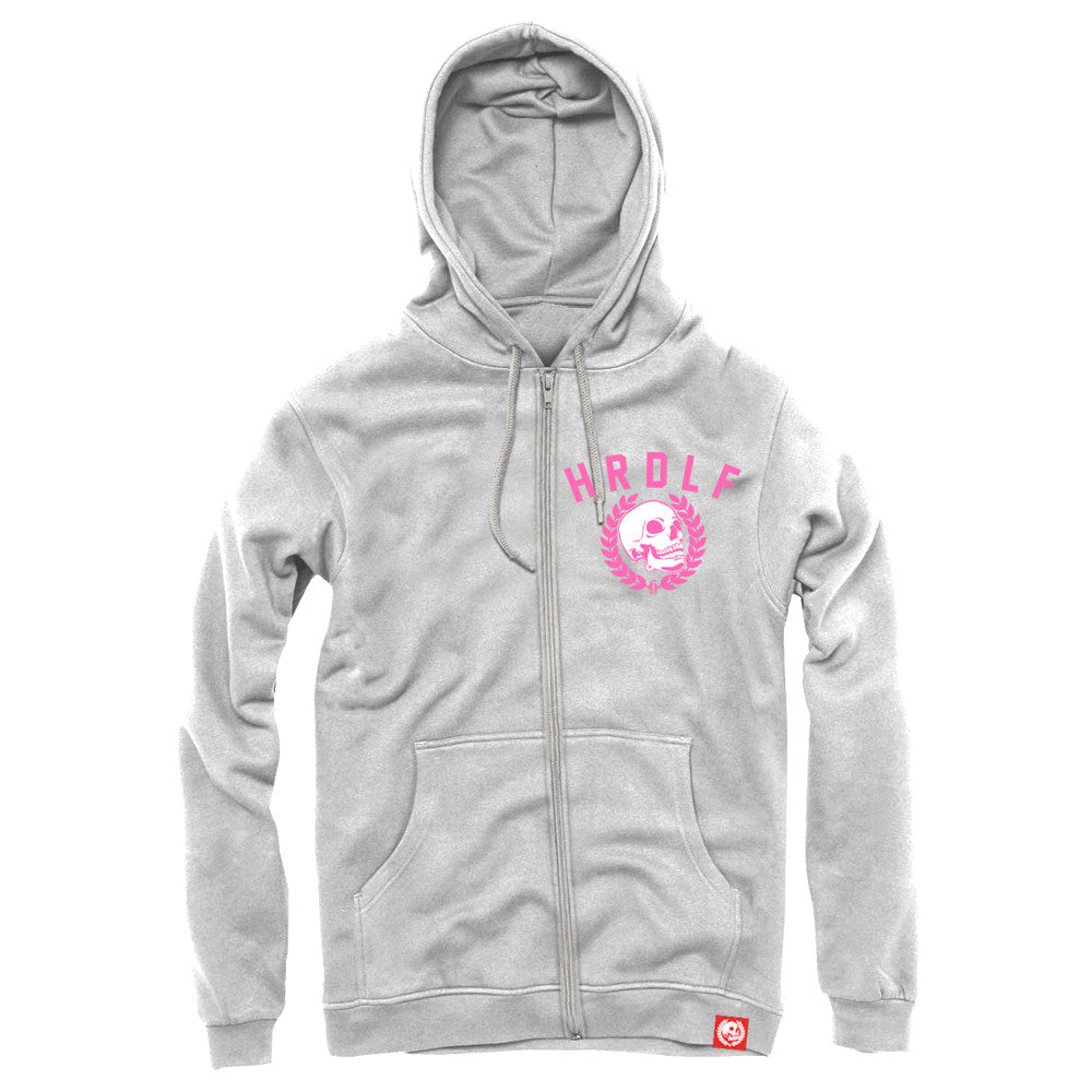 All over Ice White zip front hoodie.