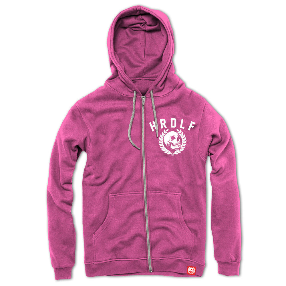 All over Hot Pink zip front hoodie.
