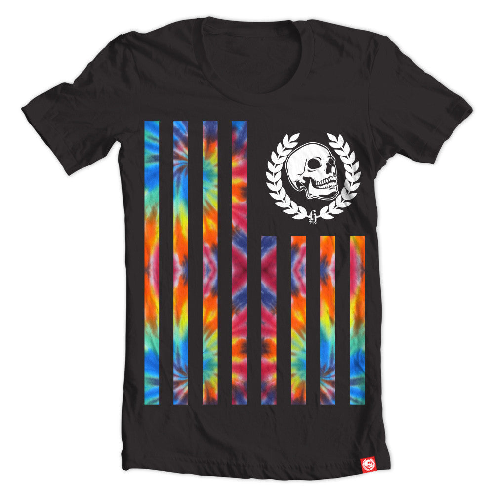 Vertical Flag Tie Dye Black tee.