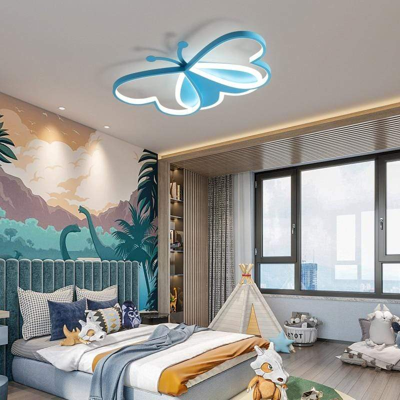 Modern Led Ceiling Chandelier Lamp For Children's Room Bedroom Nursery Pink Boys And Girls Baby Cute Butterfly Light Fixture