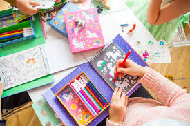 Children's art & activity sets, complete with stationery, stickers, note pads instructions & craft tools. Activities of colouring & making.