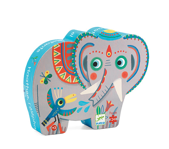 Djeco Silhouette Puzzle Haathee Asian Elephant 24 Pieces