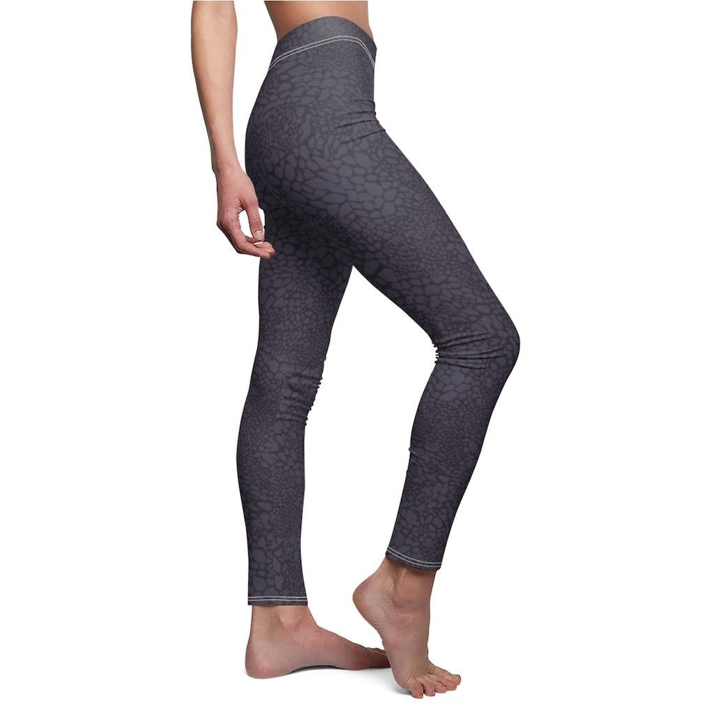 Printify Leggings Black Croco Mid-Rise Leggings