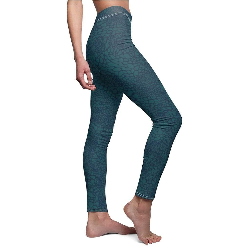 Printify Leggings Green Croco Mid-Rise Leggings