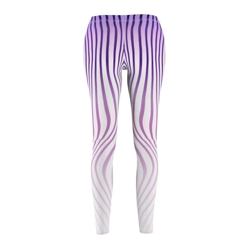 Printify Leggings Purple Stripes Mid-Rise Leggings