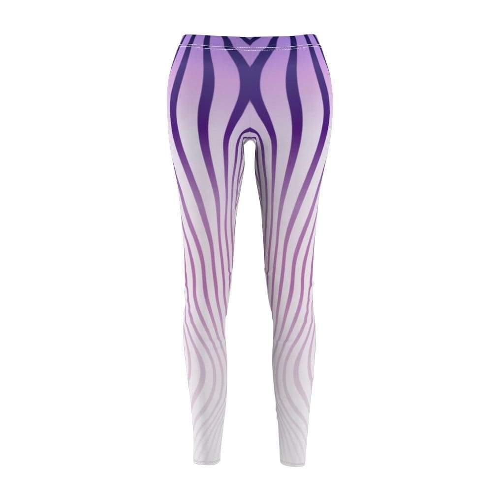 Printify Leggings M Purple Stripes Mid-Rise Leggings