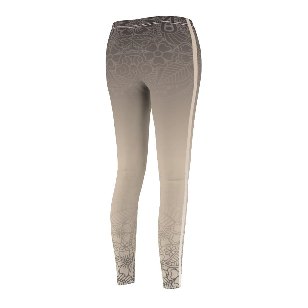 Printify Leggings Tan Paisley Mid-Rise Leggings
