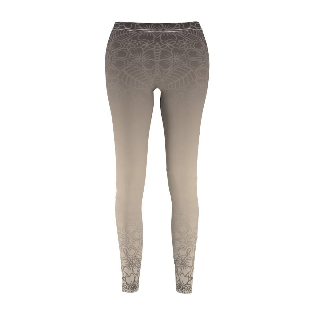 Printify Leggings M Tan Paisley Mid-Rise Leggings