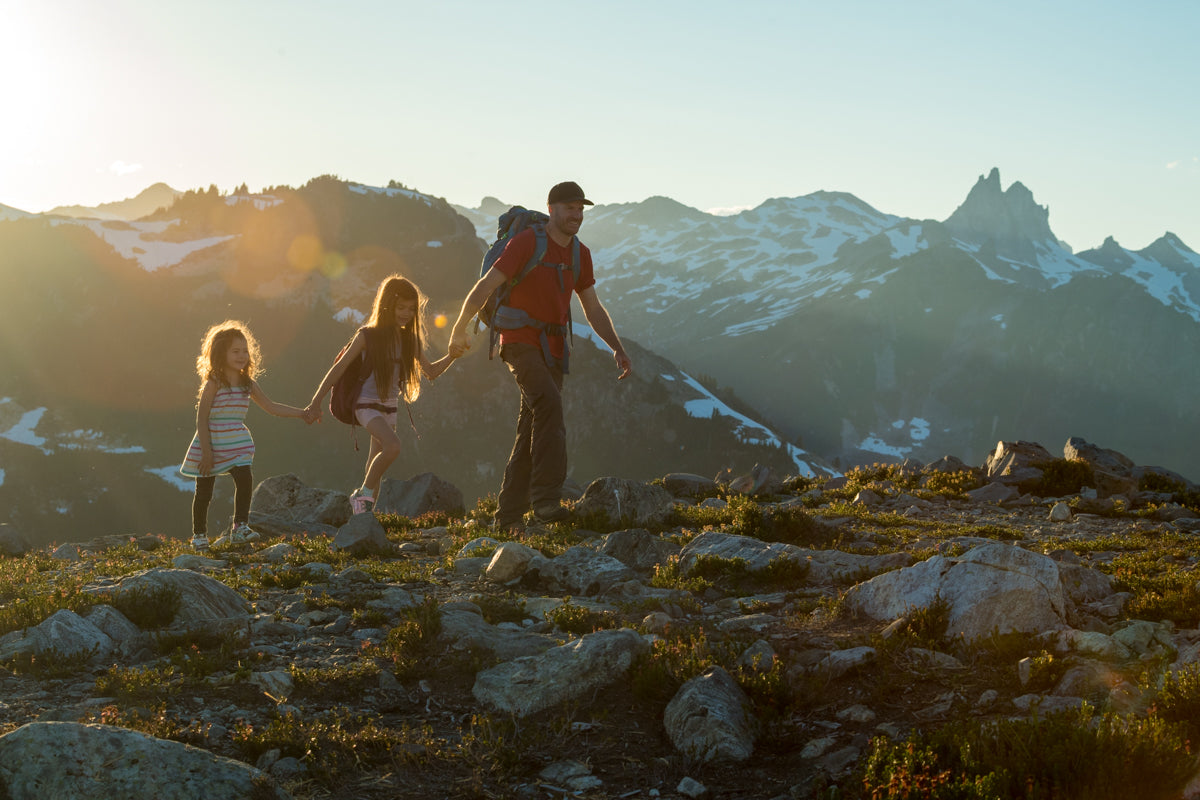 Family adventure in the mountains.