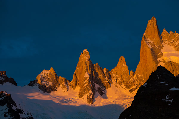 Fine art gallery print of sunrise on Mount Fitz Roy, Patagonia