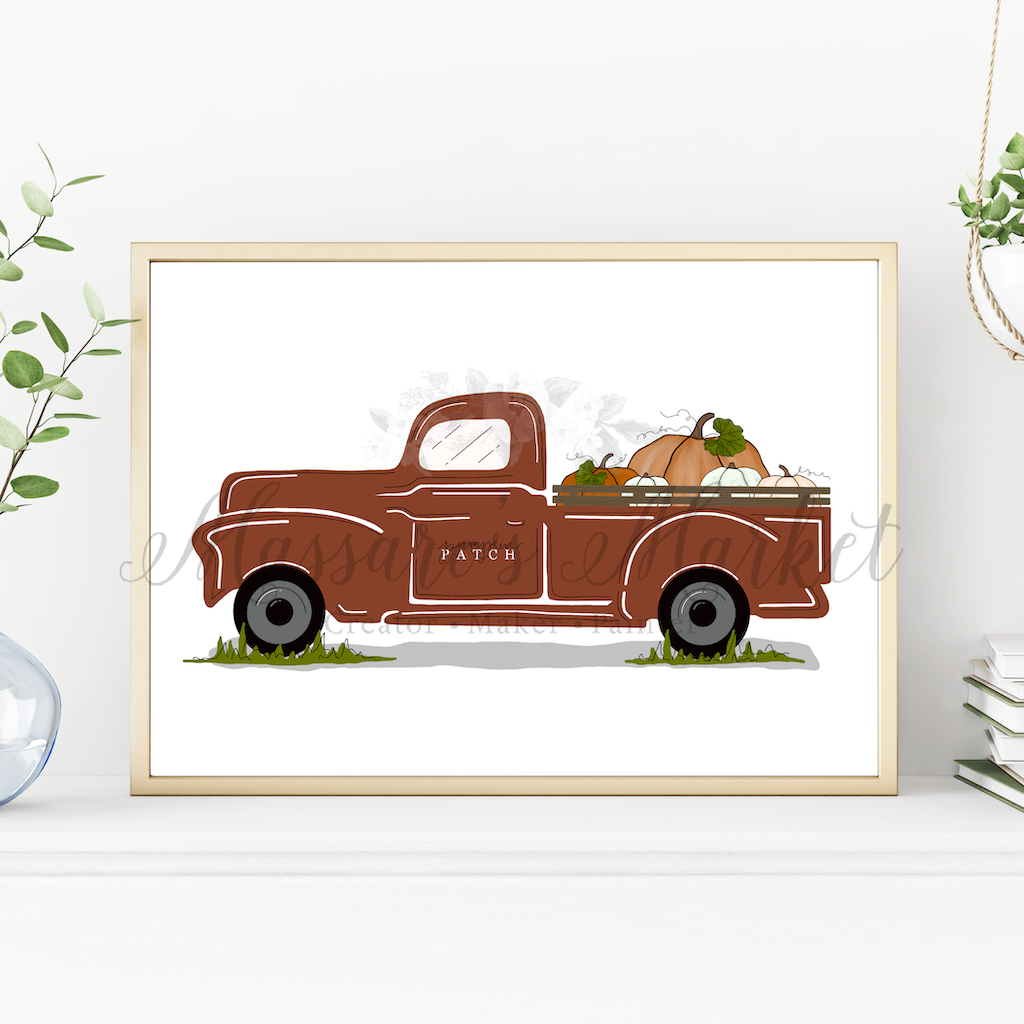 Vintage Truck, Pumpkin Patch- Fall Farmhouse