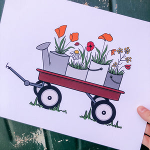 Wagon Blooms- Red Ryder, Poppy and Mustard Florals, Farmhouse Decor, Floral Decor