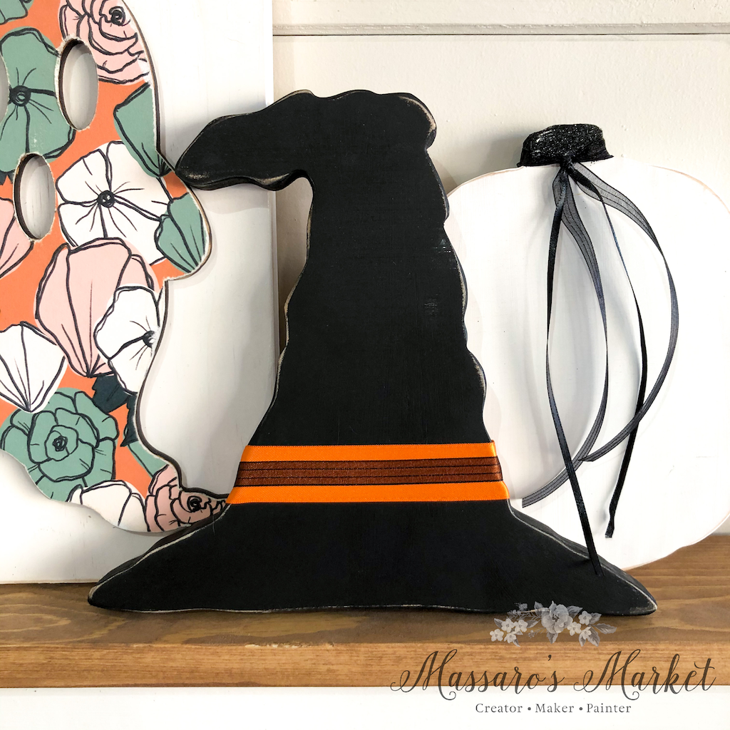 "Witch Hat- 10"" Tall, Black w/ Orange and Black Accent Ribbon- Spooky, Halloween"