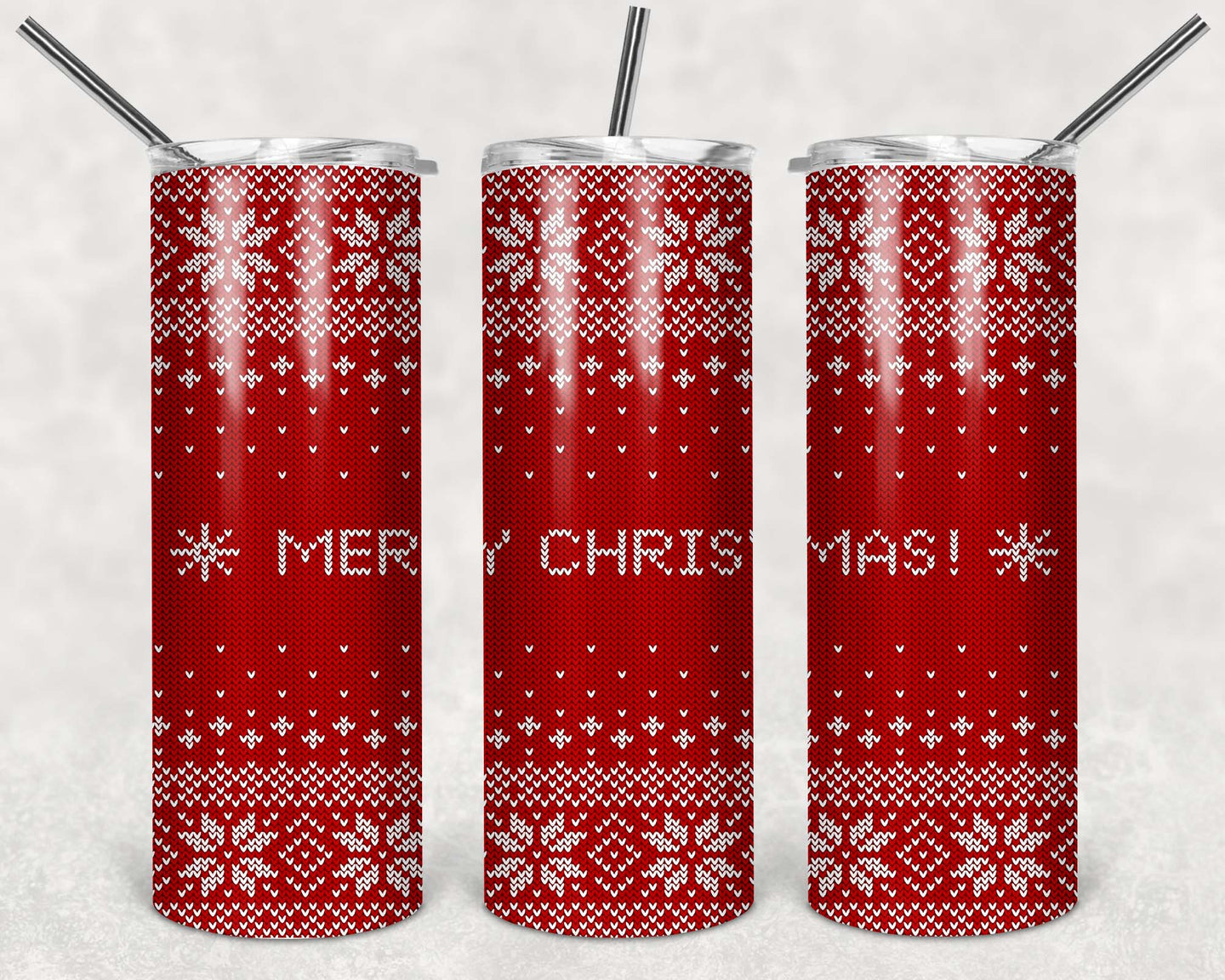 20oz Tumbler - Merry Christmas Knitted Pattern | Blue Hippo Metal Art
