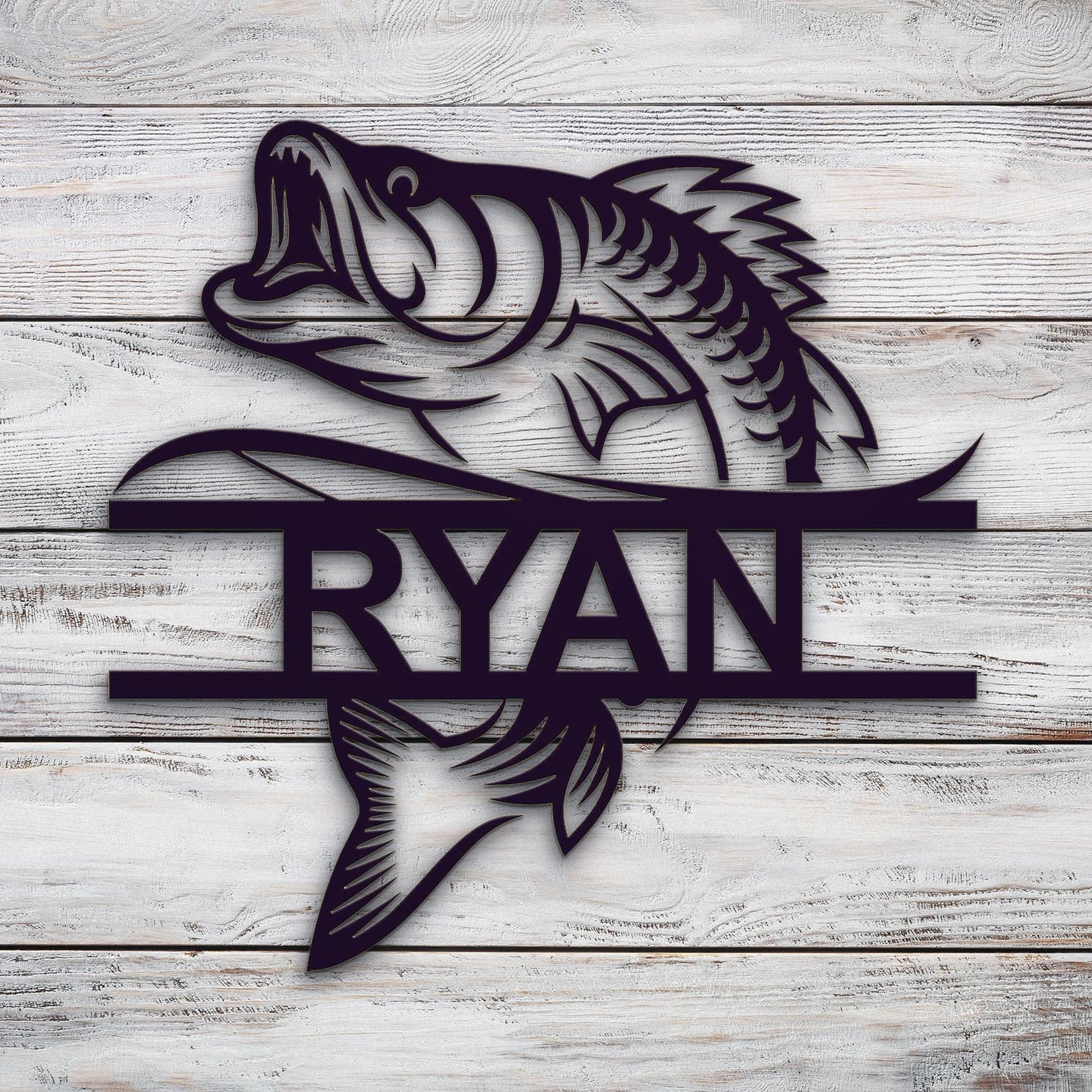 Bass Monogram | Blue Hippo Metal Art