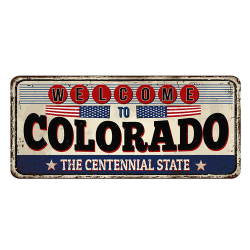 Colorado License Plate Sign | Blue Hippo Metal Art