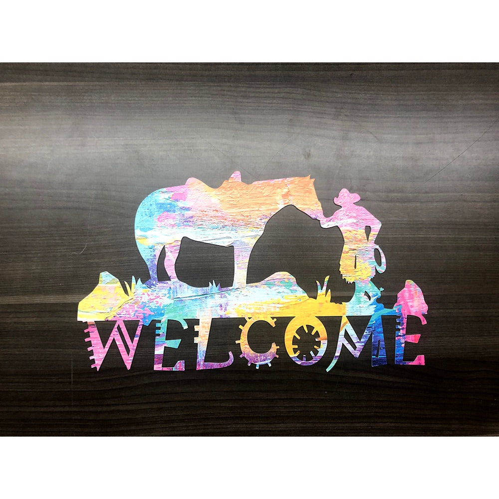 Welcome Sign V22 | Blue Hippo Metal Art