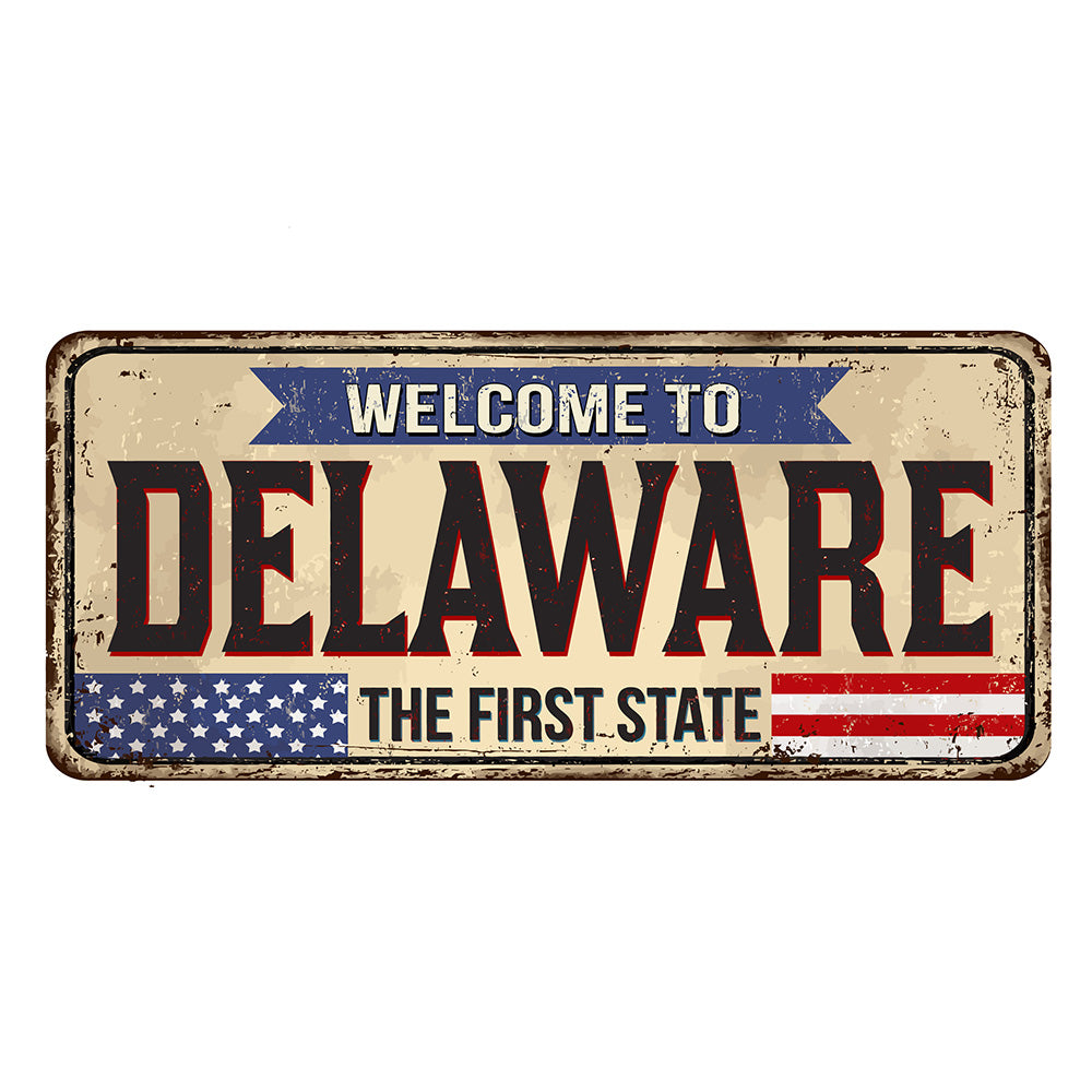 Delaware License Plate Sign | Blue Hippo Metal Art