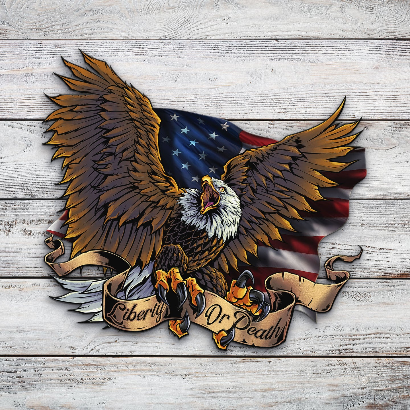 Eagle Flag and Banner | Blue Hippo Metal Art