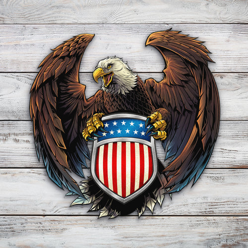 Eagle and US Flag Crest | Blue Hippo Metal Art