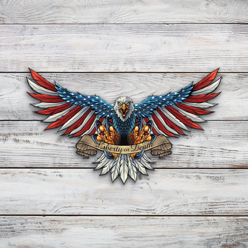 Eagle With US Flag Wings Spread | Blue Hippo Metal Art