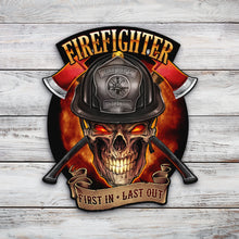 Load image into Gallery viewer, Fire Fighter Skull | Blue Hippo Metal Art