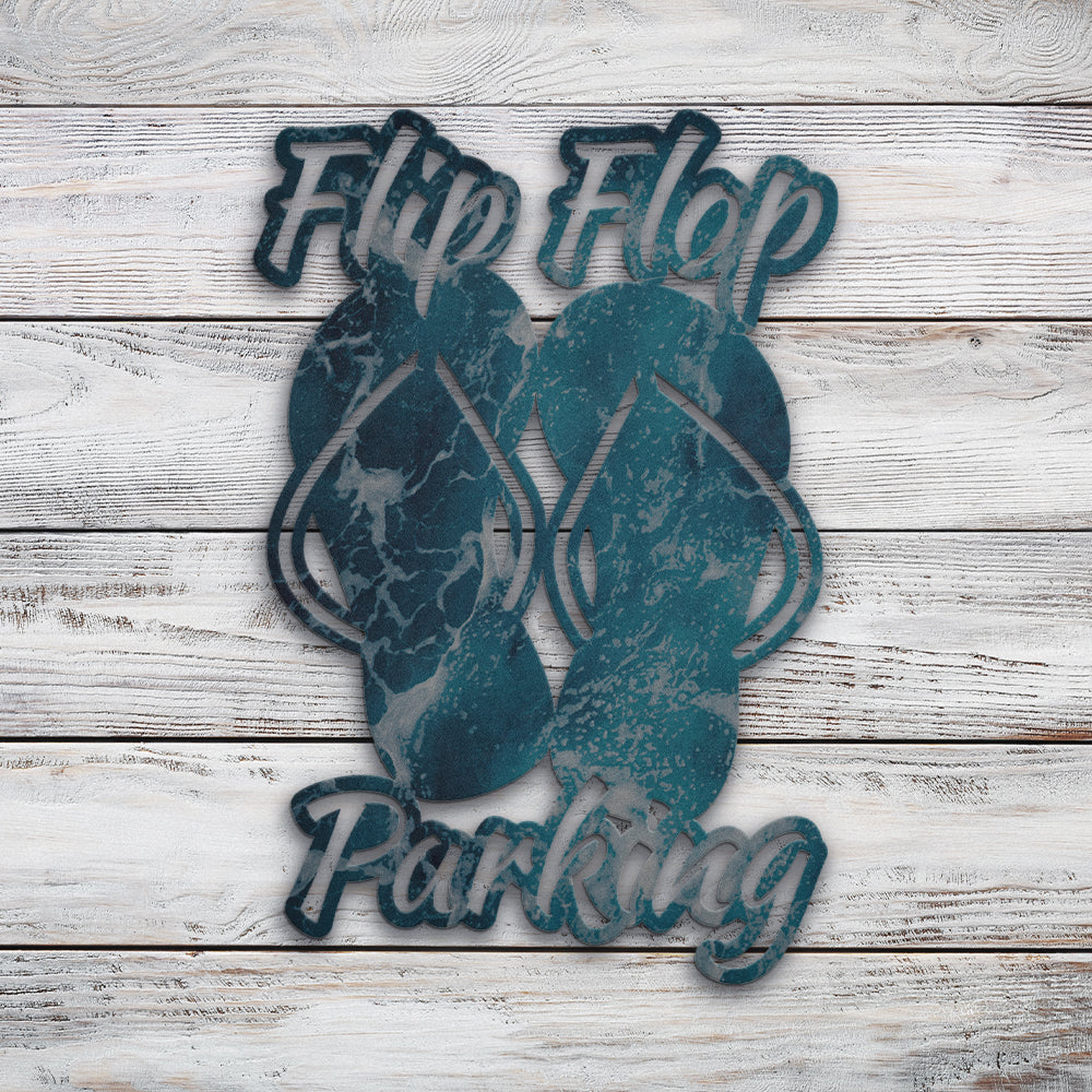 Flip Flop Parking | Blue Hippo Metal Art
