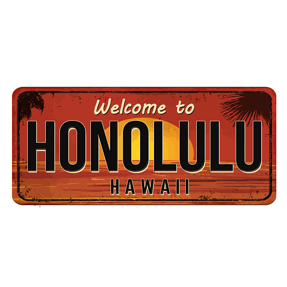 Honolulu License Plate Sign | Blue Hippo Metal Art